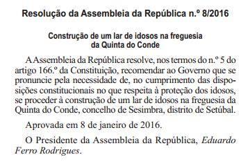 Resolução da Assembleia da República n.º 82016