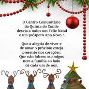 O Centro Comunitário da Quinta do Conde deseja a todos um Feliz Natal e um próspero Ano Novo!