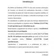 INFORMAÇÃO No âmbito da Pandemia COVID 19